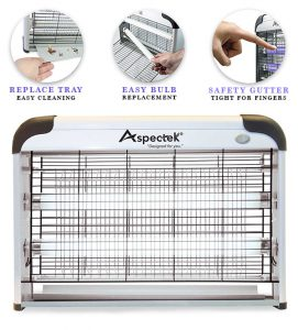 Aspectek 20W Bug Zapper. Type: electric indoor insect and mosquito fly killerler. Grid: Zapper voltage grid: 2800V. Coverage: 6000sqft.